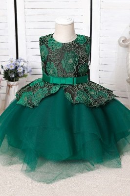 Cute Jewel Polyester Sleeveless Flower Girls Dresses With Bowknot_3