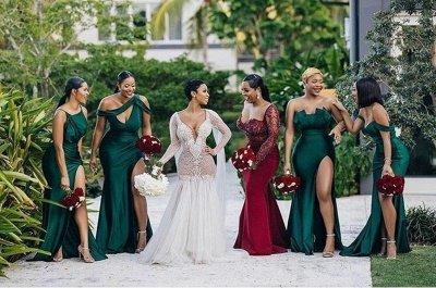 Off-the-shoulder Strapless Emerald Green Elastic Satin Long Bridesmaid Dress_3