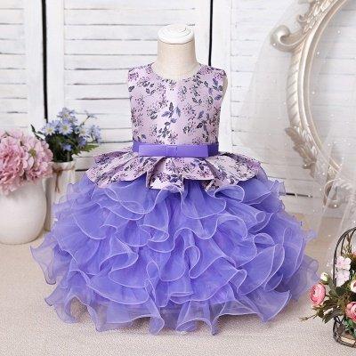 Jewel Sleeveless Print Flower Girls Dresses Ball Gown_1