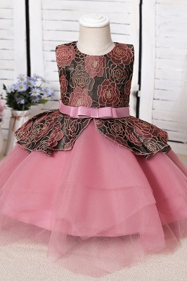 Cute Jewel Polyester Sleeveless Flower Girls Dresses With Bowknot_1
