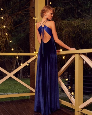 Gorgeous Spaghetti Straps V Neck Regency Evening Dresses_2