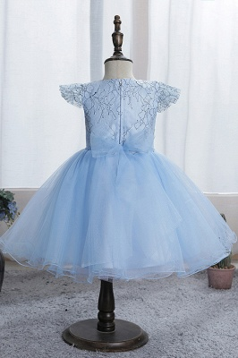 Cute Short Sleeves Sky Blue Flower Girls Dresses With Appliques_7