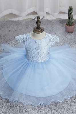 Cute Short Sleeves Sky Blue Flower Girls Dresses With Appliques_8