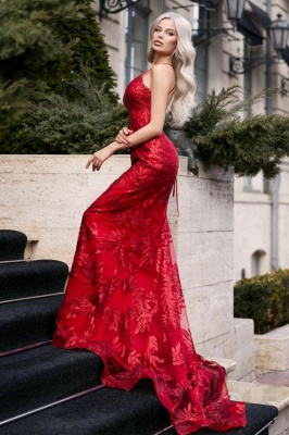 Sexy Spaghetti Straps Ruby Mermaid Prom Dresses With Lace