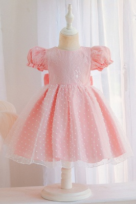 Princess Short Sleeves Jewel Flower Girls Dresses With Bowknot