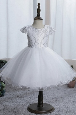 Cute Short Sleeves Sky Blue Flower Girls Dresses With Appliques_1