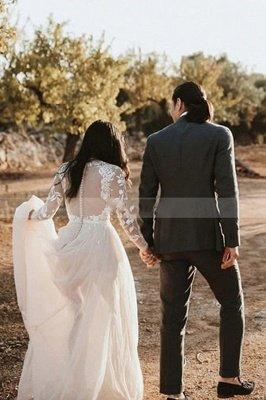 Floor Length Long Sleeves Wedding Dress Chiffon Bridal Gown_3