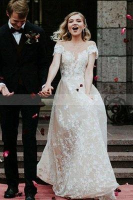 Princess Off Shoulder Floral Lace White Bridal Gowns_3