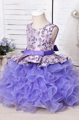 Jewel Sleeveless Print Flower Girls Dresses Ball Gown_7