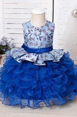 Jewel Sleeveless Print Flower Girls Dresses Ball Gown_8