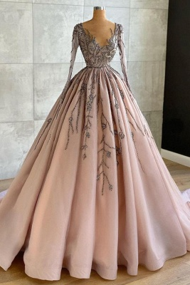 Luxury Long Sleeves Tulle Ruffles Nude Pink Prom Dresses