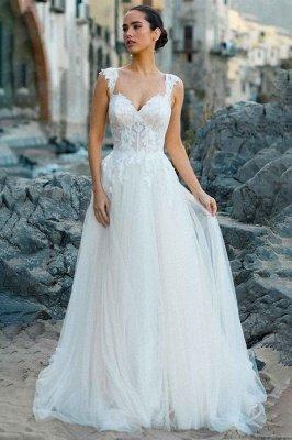 V-Neck Tulle Sleeveless Floral Lace Wedding Dresses_4