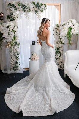 Elegant Sleeveless Sweetheart Mermaid Wedding Dresses With Lace_3