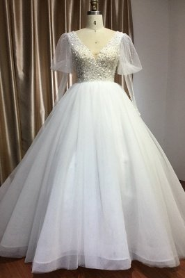 Glamorous V Neck Tulle Lace Beading Wedding Dresses With Long Sleeves