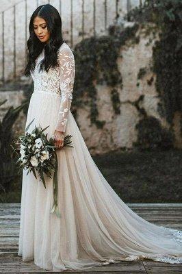 Floor Length Long Sleeves Wedding Dress Chiffon Bridal Gown_1