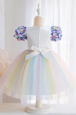 Cute Short Sleeves Tulle Colorful Flower Girls Dresses With Appliques_5