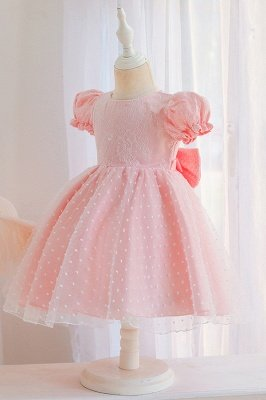 Princess Short Sleeves Jewel Flower Girls Dresses With Bowknot_7