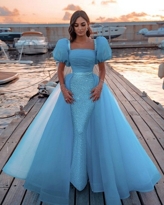Sexy Short Sleeves Mermaid Square Sequin Chiffon Prom Dresses_1