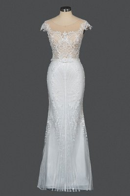 Sleeveless Tulle Lace Beading Sheath Wedding Dresses With Detachable Train_12