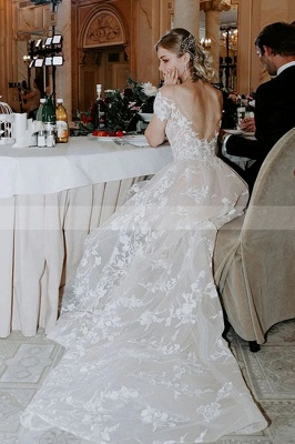 Princess Off Shoulder Floral Lace White Bridal Gowns_6