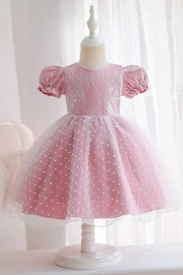 Princess Short Sleeves Jewel Flower Girls Dresses With Bowknot_2