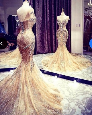 Luxury Sleeveless Jewel Bronzing Crystal Beading Wedding Dresses Mermaid_1