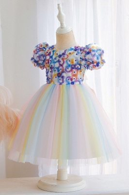 Cute Short Sleeves Tulle Colorful Flower Girls Dresses With Appliques_6