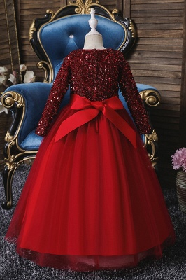 Princess Long Sleeves Ruby Sequins Flower Girls Dresses Ankle-Length_7
