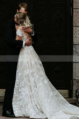 Princess Off Shoulder Floral Lace White Bridal Gowns_2