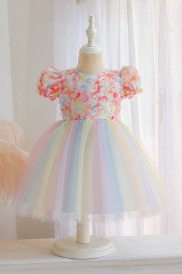Cute Short Sleeves Tulle Colorful Flower Girls Dresses With Appliques_1