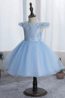 Cute Short Sleeves Sky Blue Flower Girls Dresses With Appliques_3