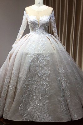 Gorgeous Long Sleeves Tulle Beading Wedding Dresses With Lace Appliques