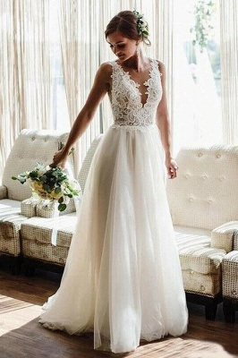 A Line White V-Neck Lace Tulle Bridal Dress Beach Wedding Dress_1