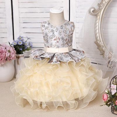 Jewel Sleeveless Print Flower Girls Dresses Ball Gown_4