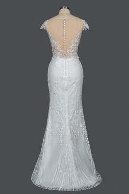 Sleeveless Tulle Lace Beading Sheath Wedding Dresses With Detachable Train_5