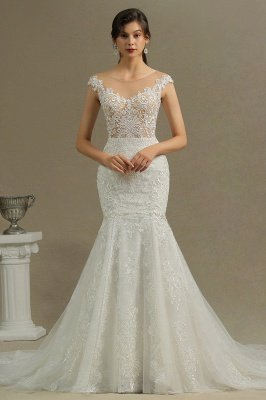 Graceful Jewel Tulle Beading Mermaid Wedding Dresses With Lace Appliques_2