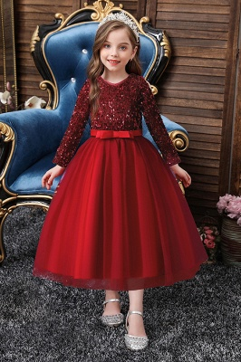 Princess Long Sleeves Ruby Sequins Flower Girls Dresses Ankle-Length