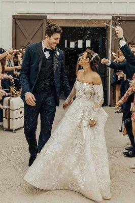 Gorgeous Tulle Bateau Wedding Dresses With Lace Appliques_1