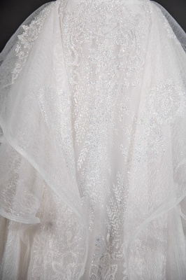 A-Line White Tulle Ruffles Beading Lace Wedding Dresses With Short Sleeves_6