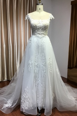 Sleeveless Tulle Lace Beading Sheath Wedding Dresses With Detachable Train_1
