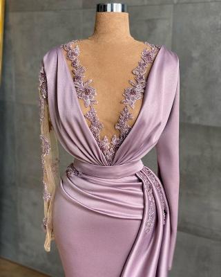 Luxury Floor-length Light Purple Ruffles Mermaid Prom Dresses With Long Sleeves_2