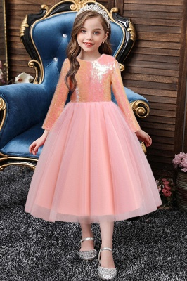 Princess Long Sleeves Sequins Flower Girls Dresses Ankle-Length