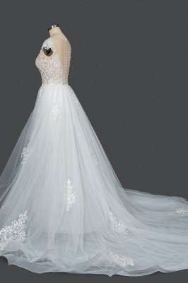 Sleeveless Tulle Lace Beading Sheath Wedding Dresses With Detachable Train_3