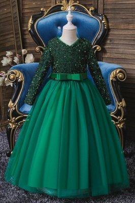 Princess Long Sleeves Ruby Sequins Flower Girls Dresses Ankle-Length_4