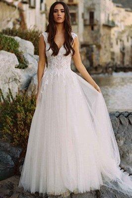 V-Neck Tulle Sleeveless Floral Lace Wedding Dresses_1