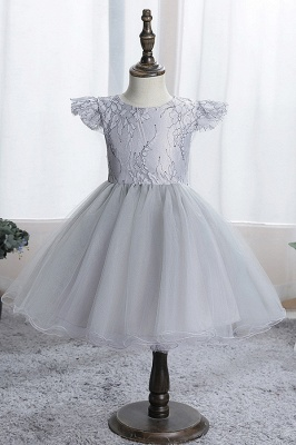 Cute Short Sleeves Sky Blue Flower Girls Dresses With Appliques_4