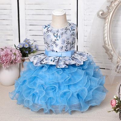 Jewel Sleeveless Print Flower Girls Dresses Ball Gown_2
