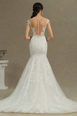 Graceful Jewel Tulle Beading Mermaid Wedding Dresses With Lace Appliques_3