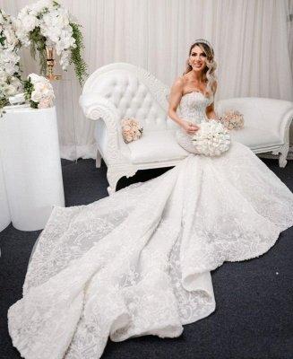 Elegant Sleeveless Sweetheart Mermaid Wedding Dresses With Lace_2