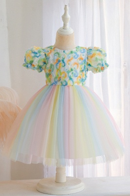 Cute Short Sleeves Tulle Colorful Flower Girls Dresses With Appliques_3